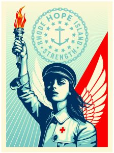 Young woman holding a torch up in the air. She is dressed as a nurse