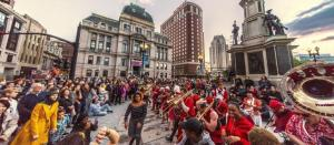 Large crowd of people in downtown Providence for a 2017 arts festival